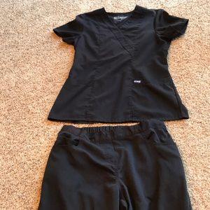 Greys Anatomy Scrub Set, Black, Med pants, Sm top